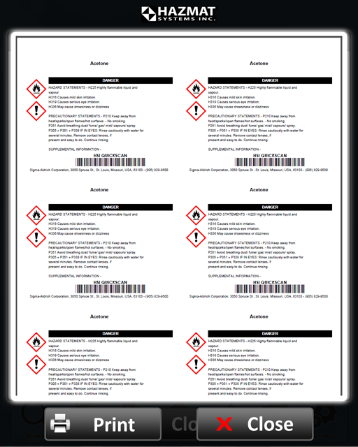 Workers can quickly and easily generate fully compliant GHS and WHMIS labels themselves
